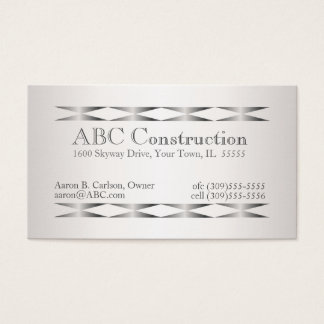 Faux Silver Construction Handyman Business Cards