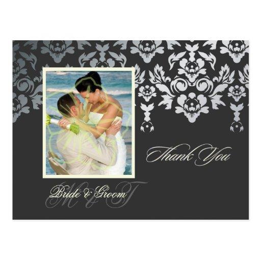 Faux Silver Damask Lace Thank You Photo/DIY color Postcards