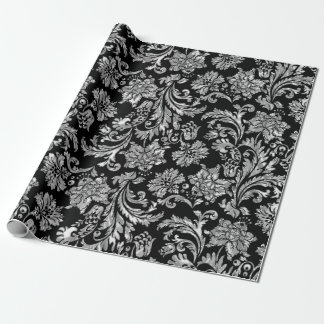 Faux Silver Damasks Pattern Wrapping Paper