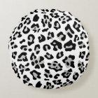 Faux Silver Foil Black Leopard Print Pattern Round Cushion