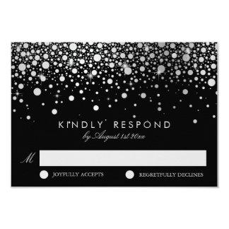 Faux Silver Foil Confetti Black & White RSVP Card 9 Cm X 13 Cm Invitation Card