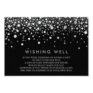Faux Silver Foil Confetti Black Wishing Well Card