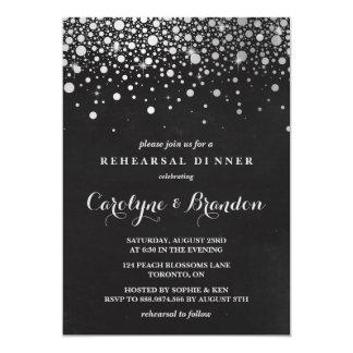 Faux Silver Foil Confetti Chalkboard Rehearsal 13 Cm X 18 Cm Invitation Card