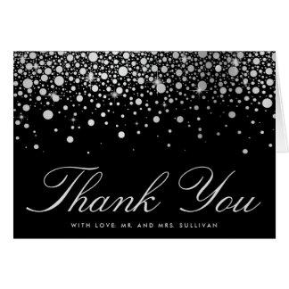 Faux Silver Foil Confetti Dots Black Thank You Card