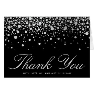 Faux Silver Foil Confetti Dots Black Thank You Greeting Card