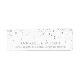Faux Silver Foil Confetti Dots Modern Return Address Label