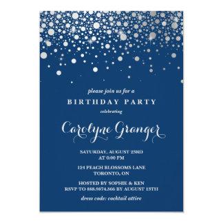 Faux Silver Foil Confetti | Navy Birthday Party 13 Cm X 18 Cm Invitation Card