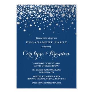 Faux Silver Foil Confetti | Navy Engagement Party 13 Cm X 18 Cm Invitation Card