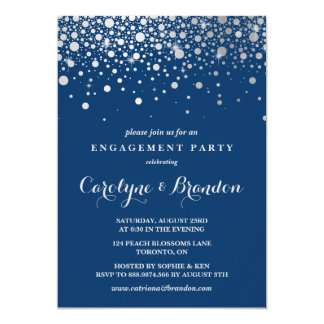 Faux Silver Foil Confetti | Navy Engagement Party Card
