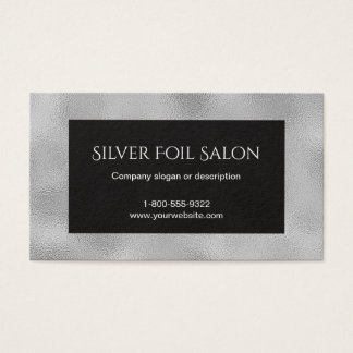 Faux Silver Foil Look with Black Business Card
