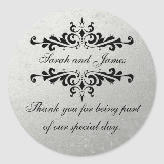 Faux Silver Foil Wedding Favor Thank You Classic Round Sticker