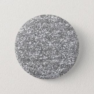 Faux Silver Glitter 6 Cm Round Badge