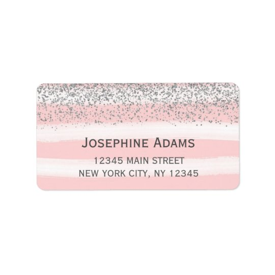 Faux Silver Glitter Address Labels