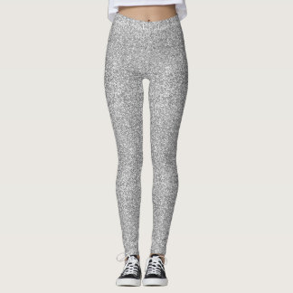 Faux Silver Glitter And Glamour Leggings