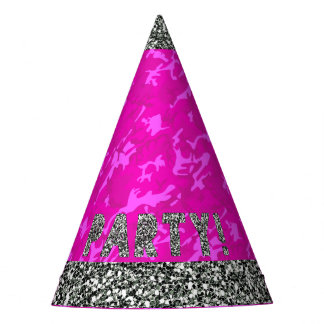 Faux Silver Glitter and Pink Camo Party Hat