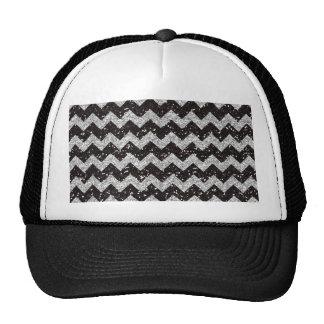 Faux Silver Glitter Chevron Pattern Black Glitter Hats