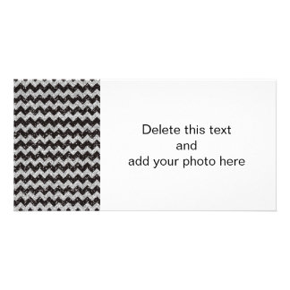 Faux Silver Glitter Chevron Pattern Black Glitter Photo Cards