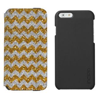 Faux Silver Glitter Chevron Pattern Gold Glitter Incipio Watson™ iPhone 6 Wallet Case