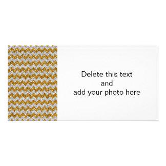 Faux Silver Glitter Chevron Pattern Gold Glitter Photo Card Template