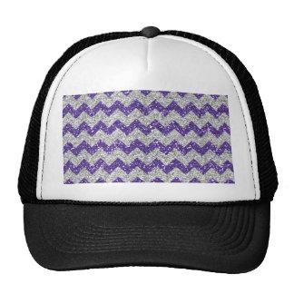 Faux Silver Glitter Chevron Pattern Purple Glitter Hat