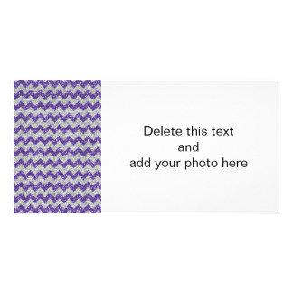 Faux Silver Glitter Chevron Pattern Purple Glitter Picture Card