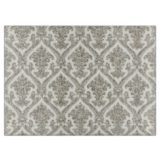 Faux Silver Glitter Damask Floral Pattern Kitchen Cutting Board