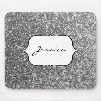Faux Silver Glitter Glamour Girly Glam Name Mouse Pad