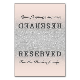 Faux silver glitter pink blush ombre reserved card