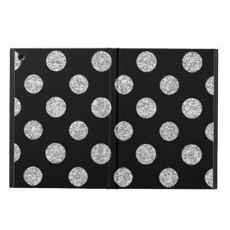 Faux Silver Glitter Polka Dots Pattern on Black iPad Air Cover