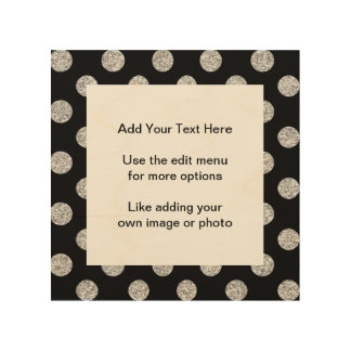 Faux Silver Glitter Polka Dots Pattern on Black Wood Canvases