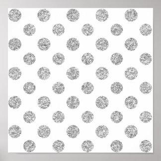 Faux Silver Glitter Polka Dots Pattern on White Print