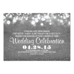 "faux silver glitter string lights wedding invites 5"" x 7"" invitation card"