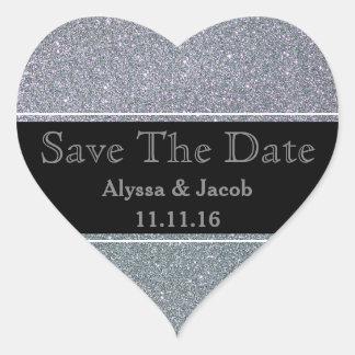 Faux Silver Glitter Wedding  Save the Date Heart Sticker