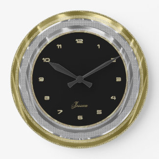 Faux Silver & Gold Border Custom Black Background Wallclock