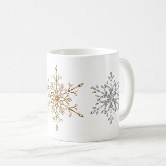 Faux Silver & Gold Glitter Snowflakes Coffee Mug