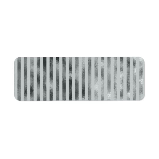 Faux Silver Grey Metallic Vertical Narrow Grey Return Address Label