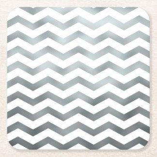 Faux Silver Grey White Foil Chevron Zig Zag Square Paper Coaster