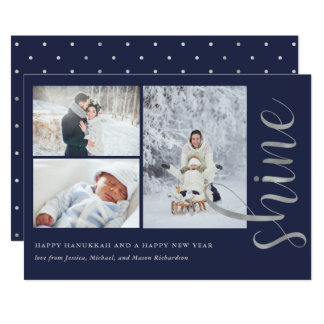Faux Silver | Hanukkah Shine with Photos Card