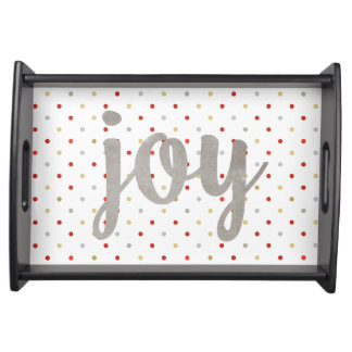 Faux Silver Joy Polka Dots Christmas Serving Tray