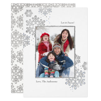 Faux Silver Let it Snow! Photo Christmas Card