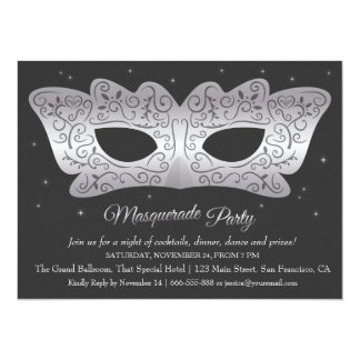 Faux Silver Mask Masquerade Party Invitations