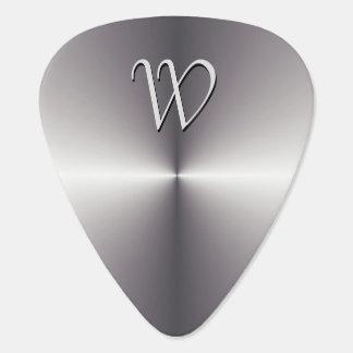 Faux Silver Metallic Guitar Pick Custom Monogram