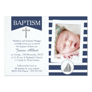 Faux silver Nautical Baptism Invitation