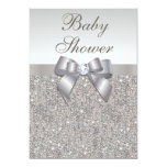 Faux Silver Sequins and Bow Neutral Baby Shower Invitation