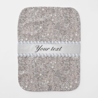 Faux Silver Sequins and Diamonds Baby Burp Cloth