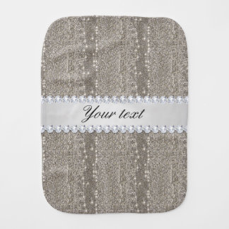 Faux Silver Sequins and Diamonds Burp Cloths