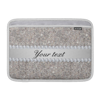 Faux Silver Sequins and Diamonds MacBook Air Sleeves