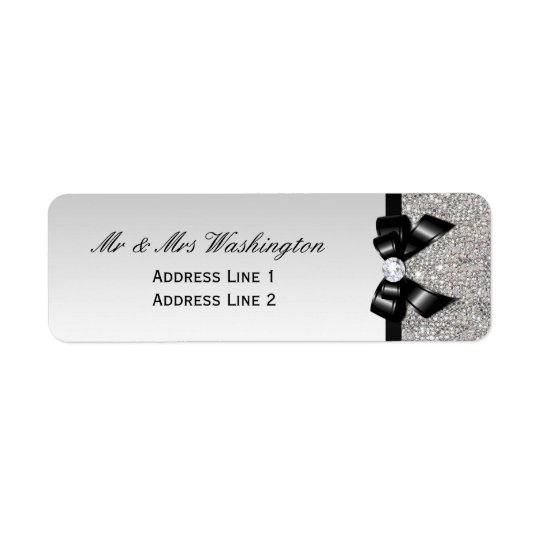 Faux Silver Sequins Black Bow and Diamond Return Address Label