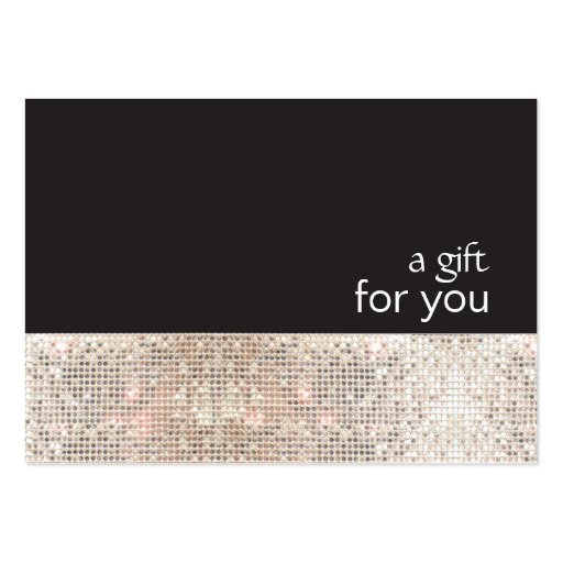 Faux Silver Sequins Black Salon Gift Certificate Business Card Templates