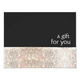 FAUX Silver Sequins Black Salon Gift Certificate Card